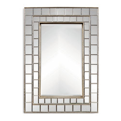 Bassett Mirror - Bassett Mirror Neo Wall Mirror - Use the striking Neo Wall Mirror to add depth to your home. Its features include beveled glass, double rows of antiqued beveled square mirror segments and wood edging in a silver leaf finish. Combine it with contemporary decor for a clean, eye-catching look.