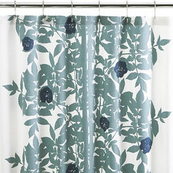 "Marimekko Ruusupuu Shower Curtain - Part of designer Maija Isola's 1957 nature series, Ruusupuu (translated from the Finnish as ""rosewood"") is her interpretation of wild angelica found in moist habitats and near lakes and streams. Navy blossoms dot the detailed silhouette of vining foliage in soft blue printed on white 100% cotton twill."