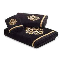 Bombay - Bombay Sarto Bath Towel - Dramatic and luxurious, the Sarto towel collection's rich, gold on black design will elevate the look of your bath to regal elegance. Woven from 100% cotton these towels will make you feel pampered every day.