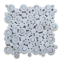 "Stone Center Corp - Carrara White Marble Circle Bubble Mosaic Tile Polished Bianco Carrera - Premium Carrara White Marble random circle bubble pieces mounted on 12x12"" sturdy mesh tile sheet"