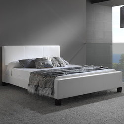 """Fashion Bed Group - Euro Platform Bed in White Finish - Full - The Euro is a sleek European-style platform bed that is covered in a soft, but durable synthetic leather material. The Euro Bed comes in two colors- Brown and White and boasts a 30"""" headboard. The Euro does not require a boxspring."""