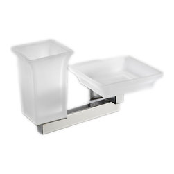 "Modo Bath - Domino H6028S Wall Mounted Toothbrush Holder and Soap Dish - Domino H 6028S Soap Dish and Toothbrush Holder, 8.7"" W x 5.2"" H x 4.3"" D, in Frosted Glass"