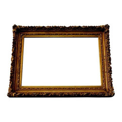 Antique Ornate French Mirror Original Gold Patina - The perfect accent piece...An antique ornate French mirror with original gold patina. The original glass is in excellent condition. The mirror features gesso over wood, finished in gold leaf. The frame shows no damage or missing gesso. It arrives ready to hang (horizontal or vertical).