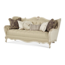Lavelle Blanc Wood Trim Tufted Sofa