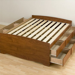 None - Cherry Tall Full 12-drawer Captain's Platform Storage Bed - Get all the bedroom storage of a dresser with this tall Full Captain's platform storage bed. With twelve full-sized,18-inch deep drawers,this captain's bed offers more storage than most chests.
