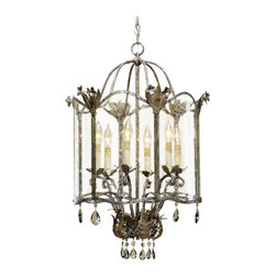Kathy Kuo Home - Spanish Revival Antique Gold Silver Lantern Pendant- Large - An exquisite historical design from the Winterthur Museum Archive Collection designed by the du Pont family is made breathtaking with its opulent finishes of Viejo Gold and Silver.  Smoked crystals and seeded glass lend vintage elegance to this unique pendant lamp.