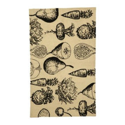 Fruits & Veggies Scatter Rug - In my experience, kitchen rugs tend to be pretty bland. This one breaks the mold and brightens up any space with etched fruits and vegetables in a soft 100-percent-wool fabric.
