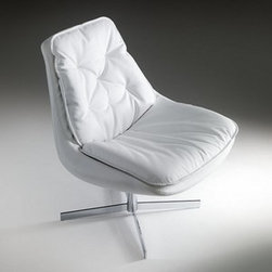 Bontempi Casa - Bontempi Casa | Daya Lounge Chair - Made in Italy by Bontempi Casa. Spend some time day-dreaming in the elegant and comfortable Daya Lounge Chair. With a chrome metal base and plush tufted cushions covered in White eco-leather, Daya is a stylish spot for some modern relaxation. For added comfort choose the optional removable headrest and ottoman.
