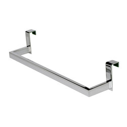 "Manillons - Over the cabinet door towel holder, Rectangular Lines - Complement collection. Excellent towel bar holder over the cabinet, vanity /door made in brass polished chrome. Rectangular/ Round lines. Dimensions: 14-1/2"" wide by 3"" deep by 3"" height. Very convenient for your bathroom, easing your daily bathroom task since you will have the towel right next to you as soon as you wash your hand. No drill required. Simple installation. Designed and manufactured in Spain."