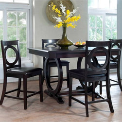 Powell - Powell Brigham 5 Piece Counter Height Dining Table Set - Cherry Multicolor - 180 - Shop for Dining Sets from Hayneedle.com! The rich cherry finish and bold contemporary construction of the Powell Brigham 5 Piece Counter Height Dining Table Set - Cherry adds the perfect amount of flair to your dining room. Standing at counter height the high-quality wood veneer table top is great for entertaining. The striking circular design elements give your space an updated and versatile look More About Powell FurnitureBased in Culver City Calif. the Powell company designs imports and distributes occasional dining accent and youth furniture across all style categories. Since 1968 Powell has grown to become one of the most recognized names in the home furniture industry. From sturdy safe childrens furniture to elegant bedroom and other home collections Powell continues to develop new and exciting designs for homes around the globe.