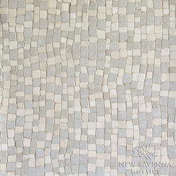 Bark Birch Stone Mosaic - Bark Birch, a hand chopped natural stone mosaic, is shown in Travertine White and Botticino (hand chopped tumbled).