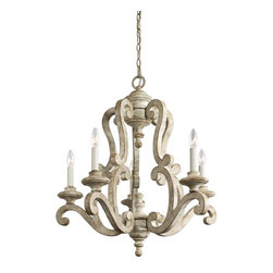 Traditional French Country Antique White Distressed Chandelier Kichler 43256DAW - TRADITIONAL FRENCH COUNTRY STYLE & CHARM AT LEE LIGHTING.