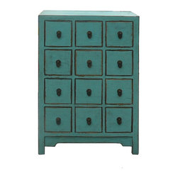 Golden Lotus - Chinese Pastel Blue 12 Drawers Storage Cabinet - This is a side table with 12 small drawers for accessories storage. Its bright light color enriches and enlight the boring room.