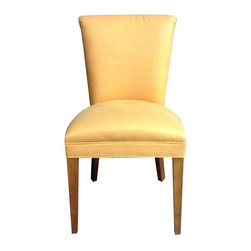 Used Mitchell Gold Clarice Side Dining Chair - This Mitchell Gold Clarice side dining chair features bright and cheery tangerine colored linen. It looks great as a side chair in a living room or bedroom or mixed in for an on-trend mixed dining room set. Only one available.