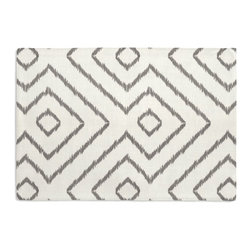 Gray & White Optical Diamond Custom Placemat Set - Is your table looking sad and lonely? Give it a boost with at set of Simple Placemats. Customizable in hundreds of fabrics, you're sure to find the perfect set for daily dining or that fancy shindig. We love it in this super chic gray & white diamond print on pure linen. a bold, graphic statement in your modern home.
