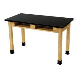 National Public Seating - National Public Seating Science Lab Table - Chem-Res Top - Dual Book Compartment - Built with solid oak legs and aprons that are attractively finished, our science lab tables are perfect for science and chemistry classrooms. These tabletops provide an exceptional work surface and are made with chemical and water-resistant chem-res high pressure laminate on a 1-1/8 inch-thick core.