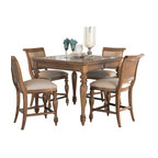 American Drew - American Drew Grand Isle 7-Piece Counter Dining Room Set in Amber - The Grand Isle collection is a lifestyle bedroom and dining room group that offers high end, yet casual up to date tropical style with multiple options for any room of the home; creating a collection that is perfect for many homes, vacation homes or even smaller size vacation condos. The amber finish has a warm overtone with subtle dark burnished accents that make the natural soft distressing show through. Design elements used in Grand Isle include carved and shaped pilasters, woven drawer fronts and a louver motif; all adding a higher end look to the collection. This collection is sure to add a relaxed, yet sophisticated style to most homes and offers plenty of options to help with storage and organization.