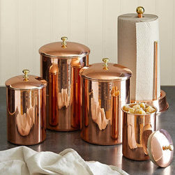 Copper Canister - A copper finish gets me every time. I'd use these in the kitchen or laundry room for storage and admire them daily.