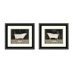 Pro Tour Memorabilia, Llc - French Bathtubs Wall Art (Set of 2) - Wall art depicting old-fashioned French bathtubs will bring a quaint look to your bathroom. Double matting and black frames are the perfect accents.