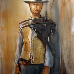 """""""Clint Eastwood (Blondie)"""" Artwork - Clint eastwood (blondie) 22""""x30"""", watercolor on arches 140lb. cold-press paper.  this is a wet into wet watercolor painting of clint eastwood."""