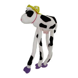 Happy House Long Limbs Clarabelle Plush Cow - These snuggly buddies are sure to be one of your child`s favorite stuffed friends, they have extra long limbs with velcro so they can be hung from or wrapped around items, and they are great at giving hugs! Made of 100% polyester, the body measures 12 inches long and the legs are 16 inches long. It is machine washable in cold water, and is recommended for children ages 3 and up.