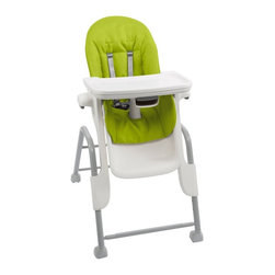 OXO - OXO Tot Seedling High Chair - 6335600 - Shop for Highchairs from Hayneedle.com! Feed you child with ease and in comfort with the OXO Tot Seedling High Chair. Made for children aged four-months to three-years-old this fun but practical highchair changes as your child grows. Its comfortable contoured seat features intuitive large buttons that allow you to easily recline the highchair into three different positions depending on your child's age and need.Designed to be smooth and crevice free this highchair is not only easy to wipe clean after each meal but the stain-resistant cushion can also be removed and thrown into the washer for a thorough cleaning. Featuring a five-point safety harness for a secure and safe fit the tray can also be removed with one hand so you can keep your other hand securely on your baby. You can simply set the tray on the table and not worry about any of the food tipping or spilling since the tray is made to rest flat and also has a 2.4-inch depth adjustment. The removable tray cover is also dishwasher safe for your convenience and easily stores on the back of the highchair.Designed with a generous footprint this highchair provides stability and balance no matter the position you have it in. Adjustable to five different heights you can easily feed your child whether you're standing or sitting. It's also great because you can remove the tray and scoot the highchair up to the table so your child can eat with the family. Made from Phthalate PVC and BPA free materials you can feel at ease while feeding your child or having them play with small toys while watching you make dinner or clean the kitchen. Featuring tool-free assembly and adjustment the frame of this highchair also disassembles into two separate pieces for easy storage. This highchair complies with ASTM and CPSIA standards and includes a limited four-year warranty.Additional Features Contoured seat adjusts effortlessly Intuitive large buttons help with proper adjustment Smooth crevice-free surfaces are easy to clean Tray can be removed with 1 hand Coated locking wheels for easy maneuvering Coated wheels protect your floor from scratches Removable tray cover is dishwasher safe Removable cushion can be machine washed Stain-resistant wipeable cushion Seat features 3 reclining positions Accommodates early feedings up to big kid meals 5 height settings for your convenience Tray rests flat on table to prevent food from tipping Tray includes a 2.4-inch depth adjustment Tray stores on back of legs for your convenience Generous footprint provides balance and stability Tool-free assembly and adjustment Frame can be disassembled into 2 parts for storage Complies with ASTM and CPSIA standards Limited 4-year warrantyAbout OxoOXO was founded in 1990 with a focus on universal design which means that OXO products are made to be easy to use for a wide span of customers. For OXO that means designing products for young and old male and female left- and right-handed and those with special needs. Headquartered in New York OXO is recognized globally by many prestigious institutions including Harvard Business School and the Royal College of Arts as an example of how establishing a well-executed universal design philosophy not only results in making products that are beneficial to customers but also serves as a sensible business model. OXO products have won numerous design awards and are included in the permanent collections of many museums worldwide. OXO is dedicated to providing innovative consumer products that make everyday living easier.