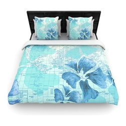 "Kess InHouse - Catherine Holcombe ""Flower Power Blue"" Aqua Map Fleece Duvet Cover (King, 104"" x - You can curate your bedroom and turn your down comforter, UP! You're about to dream and WAKE in color with this uber stylish focal point of your bedroom with this duvet cover! Crafted at the click of your mouse, this duvet cover is not only personal and inspiring but super soft. Created out of microfiber material that is delectable, our duvets are ultra comfortable and beyond soft. Get up on the right side of the bed, or the left, this duvet cover will look good from every angle."