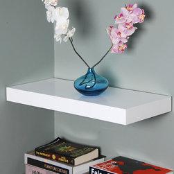 "High Gloss White Floating Shelf, 36inch - Gloss white floating shelf, 36""x10""x2""."