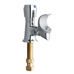 "Chicago - Chicago 748-665FHABCP Bubblers, Drinking Fountains. - The Chicago 748-665FHABCP Bubblers, Drinking Fountains. This drinking fountain fixture features a single-hole installation, a 1-3/4"" vandal-proof MVP metering push handle, an MVP metering valve with an inline filter screen cartridge, and a 1/2"" NPSM supply inlet with coupling nut for 3/8"" or 1/2"" flexible risers. It also features anti-rotational pins for optional field installation, an anti-microbial flexible mouth guard, and a vandal-resistant recessed manual volume control. It comes in a bright, Chrome finish."