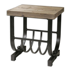 Uttermost - Uttermost Bijan 25x20 Rectangular Accent Table w/ Planked Fir Top - Forged, Black Iron Base with Natural, Planked Fir Wood Top.