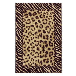 Mohawk Home - Mohawk Woodgrain Tigress Cream Animal Prints Zebra Leopard 8' x 10' Rug (58130) - Experience the exotic with this stunning animal print rug. The leopard print and zebra trim lend wild style to your home. Printed on the same machines that manufacture one of the world