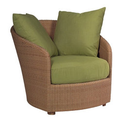 Woodard - Whitecraft by Woodard Oasis Lounge Chair - S507011 - Shop for Chairs and Sofas from Hayneedle.com! Make every day a Kentucky Derby celebration right in your backyard with the Whitecraft by Woodard Oasis Lounge Chair. You don't actually have to have the horses to enjoy mint juleps with friends and fancy hats - this horseshoe lounger does the trick nicely. A design that stretches back over 500 years to the Ming dynasty this style of chair came very much en vogue in nineteenth-century England with its gracefully sloping semicircular back and arms and has remained a staple of furniture decor in the Western world ever since. The attractive hand-woven wicker available in a choice of colors also recalls the gentile style of the southern U.S. The wide deep seat and thick cushions fashion a comfortable effect that allows you to sink deeply into your chair as you and your friends bask in the sunshine or soak in the cool evening air. And these plush seat and back cushions can be tailored to your personal tastes through a choice of fabric grades and colors and optional trim upgrades. The aluminum frame provides a strong durable base that is still lightweight enough to easily move around your patio to reconfigure seating arrangements.Woodard: Hand-crafted to Withstand the Test of TimeFor over 140 years Woodard craftsmen have designed and manufactured products loyal to the timeless art of quality furniture construction. Using the age-old art of hand-forming and the latest in high-tech manufacturing Woodard remains committed to creating products that will provide years of enjoyment.Superior Materials for Lasting DurabilityAll Seasons Outdoor Wicker is the latest addition to the Woodard line of quality furniture. Each piece is constructed using cutting-edge synthetic fibers hand-woven over an aluminum frame. With this combination of resilient weather-resistant materials and Woodard's quality workmanship All Seasons Wicker will retain its beauty and integrity for years.Mos