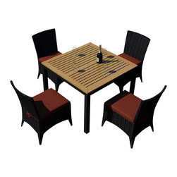 Harmonia Living - Arbor 5 Piece Outdoor Modern Patio Dining Set, Henna Cushions - Now you can dine alfresco everyday (and night) of the year with this outdoor wicker set, consisting of four side chairs and a natural teak-topped table. Each piece is designed to weather the elements beautifully, providing you with years of use.