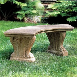 Campania International Curved Westchester Cast Stone Backless Garden Bench - About Campania InternationalEstablished in 1984, Campania International's reputation has been built on quality original products and service. Originally selling terra cotta planters, Campania soon began to research and develop the design and manufacture of cast stone garden planters and ornaments. Campania is also an importer and wholesaler of garden products, including polyethylene, terra cotta, glazed pottery, cast iron, and fiberglass planters as well as classic garden structures, fountains, and cast resin statuary.Campania Cast Stone: The ProcessThe creation of Campania's cast stone pieces begins and ends by hand. From the creation of an original design, making of a mold, pouring the cast stone, application of the patina to the final packing of an order, the process is both technical and artistic. As many as 30 pairs of hands are involved in the creation of each Campania piece in a labor intensive 15 step process.The process begins either with the creation of an original copyrighted design by Campania's artisans or an antique original. Antique originals will often require some restoration work, which is also done in-house by expert craftsmen. Campania's mold making department will then begin a multi-step process to create a production mold which will properly replicate the detail and texture of the original piece. Depending on its size and complexity, a mold can take as long as three months to complete. Campania creates in excess of 700 molds per year.After a mold is completed, it is moved to the production area where a team individually hand pours the liquid cast stone mixture into the mold and employs special techniques to remove air bubbles. Campania carefully monitors the PSI of every piece. PSI (pounds per square inch) measures the strength of every piece to ensure durability. The PSI of Campania pieces is currently engineered at approximately 7500 for optimum strength. Each piece 