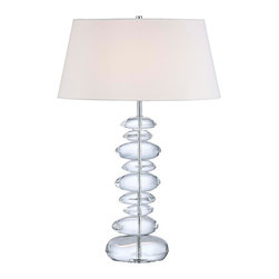 """George Kovacs - George Kovacs Polished Nickel Finish 27"""" High Table Lamp - Featuring a brilliant polished nickel finish base with an eye-catching array of stacked glass forms this striking table lamp has a simple white linen shade that lets the base take center stage. By George Kovacs. Polished nickel finish. White linen shade. Takes one 100 watt bulb (not included). 27"""" high. 19 1/2"""" wide. 13"""" deep.  Polished nickel finish.   White linen shade.   Design by George Kovacs.  Takes one 100 watt bulb (not included).   27"""" high.   19 1/2"""" wide.   13"""" deep."""