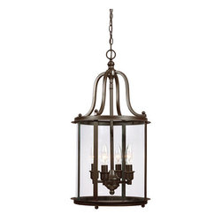 Sea Gull Lighting - Gillmore Heirloom Bronze Four Light Hall Foyer Pendant with Clear Glass - - Glass and Shade: Clear�Glass Bulb Not Included  - Canopy Dimensions: Diameter: 5.5-Inch H: 1-Inchshape: Round  - Wire and Cord Length: 144  - Wire and Cord Color: Brown  - Chain Length: 120  - Connection: Hardwired  - Pre-Laced Chain: Pre-Laced Chain Makes Installation Easy Sea Gull Lighting - 5118404-782