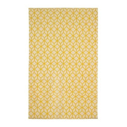 Dwellstudio Facet Cream/Citrine Rug - Decor for your floor! The graphic, yet simple flat woven rug, Facet Cream/Citrine by Dwellstudio is the perfect way to finish any room in the house.
