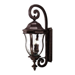 Karyl Pierce Paxton - Karyl Pierce Paxton KP-5-303-40 Monticello Transitional Outdoor Wall Sconce - A celebrated Savoy House family finished in Walnut Patina with Clear Watered glass.