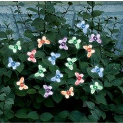 Smart Solar Butterfly Solar Light String - 20 Color Changing LED Butterflies - Enjoy the beauty of butterflies day and night with the Smart Solar Butterfly Solar Light String - 20 Color Changing LED Butterflies. This solar-powered decorative light string features 20 energy-saving, multicolored LEDs with translucent covers shaped like butterflies. It automatically illuminates at night, adding a lovely glow to shrubs, patio umbrellas, railings, flower beds, and more. It can be placed even in shady spots because the separate solar panel can be positioned elsewhere in the sun. These solar lights provide up to six hours of illumination when the replaceable, rechargeable Ni-MH battery (included) has been fully charged by the sun.About Smart SolarDriven by a strong belief in the environmental benefits of solar power, and the realization that consumers are becoming increasingly environmentally aware with an interest in buying solar-powered products, Smart Solar was created in 2003. Based near Oxford in the U.K., Smart Solar has offices in the U.S. and Germany, and a manufacturing facility in Thailand. Smart Solar offers products including solar pumps, water features, lights, ventilators, chargers, and specialty garden items. With such a wide range of solar-powered products, Smart Solar uses an equally wide range of materials to make them, including terra cotta, ceramic, copper, slate, glass, aluminum, resin, and stainless steel. With an eye for fulfilling future consumer needs, and a heart for preserving the environment, Smart Solar is devoted to developing innovative, high-quality, and dependable solar-powered products.