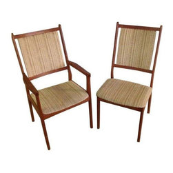 Pre-owned Spottrup Danish Mid-Century Modern Dining Chairs - This set of six Mid-century modern dining chairs made in Denmark comes complete with two arm chairs and four side chairs. They will compliment just about any style with their smart and simple design.     The original fabric in great condition but one of the chairs has an old repair in the seat back and one chair has a repair on the leg, so it is a little uneven.
