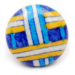 """Knobco - Pottery Knob, Blue, Turquoise Yellow and white plaid - Blue, Turquoise Yellow and white plaid designer knob from Jaipur, India. Decorative hand painted ceramic cabinet knobs for your kitchen or bathroom cabinets. 1.5"""" in diameter. Includes screws for installation."""