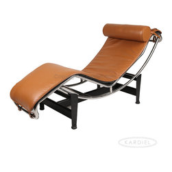 Kardiel Le Corbusier Style LC4 Chaise Lounge, Caramel Aniline Leather - The Le Corbusier Chaise Lounge (LC4) is the best known and most successful of Le Corbusier's original designs of the 1920's. The chair first exhibited at the Salon D' Automne in 1929. The Le Corbusier Chaise Lounge (LC4) was designed in 1928 with the efforts of not just the individual's name that is attributed to the chair but rather a group effort with much influence from Pierre Jeanneret and Charlotte Perriand. The LC4 was originally commissioned for the furnishing of a single villa in the Ville d' Avray, a commune in the western suburbs of Paris, France. The LC4 Chaise Lounge,  AKA the 'relaxing machine,' is a lounge that mirrors the body's natural curves while appearing to float above its supports. The frame easily positions on the base using gravity and the users own weight to create various reclining positions. Kardiel's premium reproduction of the Le Corbusier LC-4 Adjustable Chaise Lounge boasts exacting detail to the original. Review the full list of high quality features from