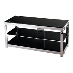 Lite Source - Lite Source Enzo 3-Tier TV Stand X-4165-HSL - From the Enzo Collection, this Lite Source TV stand is full of sleek lines and crisp styling. This contemporary TV stand, which features three tiers for storage and electronics, has been finished in an eye-catching Chrome hue with metal construction and black tempered glass shelves.