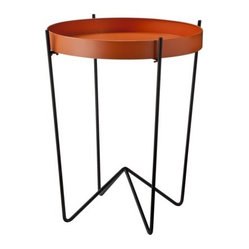 Mod Round Metal Tray Table, Orange