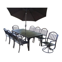 Oakland Living - 11-Pc Traditional Dining Table Set - Includes one table, six dining arm chairs, two swivel chairs and 9 ft. tilt and crank umbrella and stand. Durable tubular iron construction. Metal hardware. Umbrella hole. Fade, chip and crack resistant. Warranty: One year limited. Hammer tone bronze hardened powder coat finish for years of beauty. Minimal assembly required. Table: 80 in. L x 40 in. W x 29.5 in. H (96 lbs.). Arm Chair: 23 in. W x 21.5 in. D x 34 in. H (28 lbs.). Swivel chair: 23 in. W x 21.5 in. D x 34 in. H (32 lbs.). Overall weight: 394 lbs. The Oakland Rochester Collection combines practical designs and modern style giving you a rich addition to any outdoor setting. The traditional straight pattern work is crisp and stylish. Each piece is hand cast and finished for the highest quality possible. This 80 x 40 inch dining set is the prefect piece for any outdoor dinner setting. Just the right size for any backyard or patio.