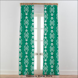 """54 Colors ~ Adinkra Sankofa Emerald Green Curtains - Adinkra Sankofa Emerald Green Curtains. Sold in pairs, printed on soft plush 100% microsuede. Each unlined panel has a rod pocket approximately 2 inches wide or you may also hang using drapery clips. Blocks approximately 50% of light. Fabric is printed with eco friendly water based dye using the dye sublimation technique. This process turns dye into a gas that penetrates fabric fibers leaving no """"feel"""" on fabric. No bleeding, no fading, no smudging, and no cracking or peeling. Machine wash and dry. DO NOT DRY CLEAN."""
