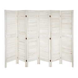 "Oriental Furniture - 5 1/2 ft. Tall Modern Venetian Room Divider - 6 Panels - White - This traditional louvered room divider is a true classic that fits with any style of modern decor. Sturdy, durable, and stable, this wooden screen features elegant louvered slats for a refined, airy look. The finish has been hand-distressed for a well-loved ""antique"" appearance."