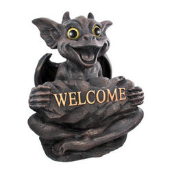 Large Gargiggles Natasha Gargoyle Welcome Statue - This adorable laughing gargoyle Welcome statue is part of a series of statues called `Gargiggles`. Made of cold cast resin, the statue, named Natasha, stands 20 inches tall, is 17 inches wide and 12 inches deep. She has beautiful glass eyes that seem to follow you through a room. She`ll make a great addition to your garden, porch or patio, and makes a great gift for friends and family.