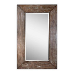 "Carolyn Kinder - Carolyn Kinder 09505 Langford Large Mirror - Generous 10"" wide frame with antiqued hickory undertones, light gray wash and burnished distressing. Mirror has a generous 1 1/4"" bevel. May be hung either horizontal or vertical."