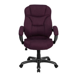 Flash Furniture - Flash Furniture High Back Microfiber Upholstered Office Chair in Grape - Flash Furniture - Office Chairs - GO725GRPEGG - This is a very attractive high back office chair that displays contemporary flair. Plush microfiber upholstery provides comfort with the extra thick padded seat and back. Built-in lumbar support will provide comfort when working for long hours. Thickly padded armrests will provide extra comfort. Chair features a titanium nylon base with black caps that prevent feet from slipping. For your next office chair, look no further than this extremely comfortable and stylish microfiber office chair! [GO-725-GRPE-GG]